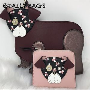 KATE SPADE DOG CROSSBODY PUP FLOWER BROWN WALLET